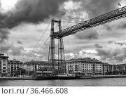 The suspension bridge of bizkaia (puente de vizcaya) between getxo... Стоковое фото, фотограф Zoonar.com/Lesniewski / easy Fotostock / Фотобанк Лори