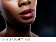 Closeup shot of full sexy black skin woman lips with red wine color... Стоковое фото, фотограф Zoonar.com/Svetlana Mandrikova (@Svetography) / easy Fotostock / Фотобанк Лори