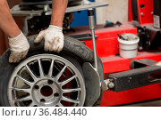Mechanic changing car tire fitting. Wheel tyre repairing. Стоковое фото, фотограф Zoonar.com/Max / easy Fotostock / Фотобанк Лори