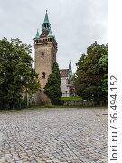 Кведлинбург, Германия. Крепостная башня Линденбайнш (Lindenbeinscher Turm), или Sternkiekerturm (2017 год). Редакционное фото, фотограф Rokhin Valery / Фотобанк Лори
