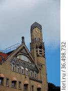 Turm, uhrturm, uhr, amsterdam, holland, niederlande, haus, häuser... Стоковое фото, фотограф Zoonar.com/Volker Rauch / easy Fotostock / Фотобанк Лори