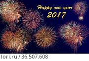 Firework at new years 2017. Стоковое фото, фотограф Zoonar.com/Wolfilser / easy Fotostock / Фотобанк Лори