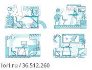 Modern office interior designs outline vector illustrations set. Business... Стоковое фото, фотограф Zoonar.com/Natalia Nesterenko / easy Fotostock / Фотобанк Лори