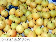 Birne, birnen, obst, frucht, früchte, markt, gelb, lebensmittel, nahrung... Стоковое фото, фотограф Zoonar.com/Volker Rauch / easy Fotostock / Фотобанк Лори