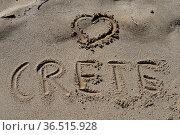 Crete, kreta, greece, griechenland, sand, strand, sandstrand, schrift... Стоковое фото, фотограф Zoonar.com/Volker Rauch / easy Fotostock / Фотобанк Лори