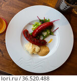 Grilled sausages with mustard and horseradish. Стоковое фото, фотограф Яков Филимонов / Фотобанк Лори