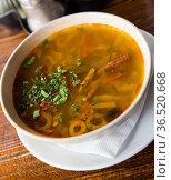 Russian meat soup Solyanka. Стоковое фото, фотограф Яков Филимонов / Фотобанк Лори