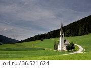 Saint Magdalina church near Villabassa in the Italian Dolomites. Стоковое фото, фотограф Zoonar.com/John Stuij / easy Fotostock / Фотобанк Лори