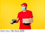 Food delivery, tracking orders, covid-19 and self-quarantine concept... Стоковое фото, фотограф Zoonar.com/Seva Levitsky / easy Fotostock / Фотобанк Лори