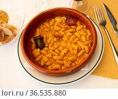Traditional dish of Spanish cuisine is Fabada soup. Стоковое фото, фотограф Яков Филимонов / Фотобанк Лори