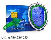 Shield and credit card on a white background. 3D render. Стоковое фото, фотограф Zoonar.com/Roman Ivashchenko / easy Fotostock / Фотобанк Лори