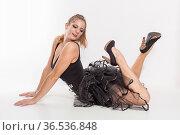 Junge blonde Frau im schwarzen Tutu - verführerisch, erotisch und... Стоковое фото, фотограф Zoonar.com/Hans Eder / easy Fotostock / Фотобанк Лори