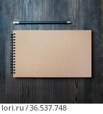 Blank kraft sketchbook and pencil on wooden background. Blank stationery... Стоковое фото, фотограф Zoonar.com/Alex Veresovich / easy Fotostock / Фотобанк Лори