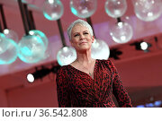 Jamie Lee Curtis during the Red carpet at the 78th Venice Film Festival... Редакционное фото, фотограф Maria Laura Antonelli / AGF/Maria Laura Antonelli / age Fotostock / Фотобанк Лори