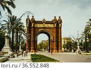 Arc de Triomf landmark in the city of Barcelona in 1997, Catalonia... Стоковое фото, фотограф Mehul Patel / age Fotostock / Фотобанк Лори