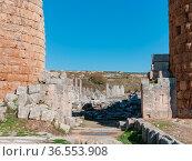 Perge Blick durch das hellenistische Tor zur Agora, im Hintergrund... Стоковое фото, фотограф Zoonar.com/Wieland Hollweg / age Fotostock / Фотобанк Лори