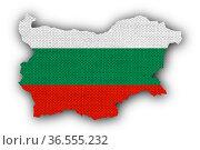 Karte und Fahne von Bulgarien auf altem Leinen - Map and flag of Bulgaria... Стоковое фото, фотограф Zoonar.com/lantapix, / easy Fotostock / Фотобанк Лори