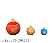 Three Christmas balls blue red yellow isolated in white background. Стоковое фото, фотограф Zoonar.com/Sprunger Marie / easy Fotostock / Фотобанк Лори