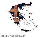 Karte und Fahne von Griechenland auf rostigem Metall - Map and flag... Стоковое фото, фотограф Zoonar.com/lantapix, / easy Fotostock / Фотобанк Лори