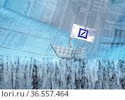 Papierschiff mit Flagge, auf der das Logo der Deutschen Bank abgebildet... Стоковое фото, фотограф Zoonar.com/Klaus Ohlenschläger / age Fotostock / Фотобанк Лори