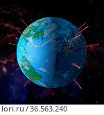 Planet earth with towers antennas, 3d render.Of This Image Furnished... Стоковое фото, фотограф Zoonar.com/Roman Ivashchenko / easy Fotostock / Фотобанк Лори