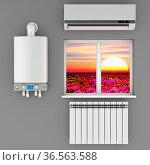 Climatic equipment on the wall near a window.3D render. Стоковое фото, фотограф Zoonar.com/Roman Ivashchenko / easy Fotostock / Фотобанк Лори
