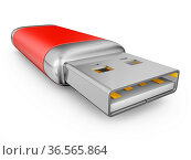 Usb drive of red color on a white background. Стоковое фото, фотограф Zoonar.com/Roman Ivashchenko / easy Fotostock / Фотобанк Лори