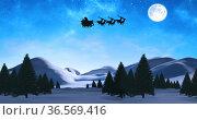Digital image of black silhouette of santa claus in sleigh being pulled by reindeers over winter. Стоковое фото, агентство Wavebreak Media / Фотобанк Лори