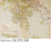 Map of Ancient Greece, southern part. From Historical Atlas, published... Редакционное фото, фотограф Classic Vision / age Fotostock / Фотобанк Лори