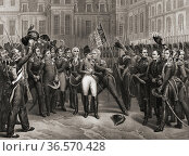 Napoleon's farewell to the Old Guard at Fontainbleau, April 20, 1814... Редакционное фото, фотограф Classic Vision / age Fotostock / Фотобанк Лори