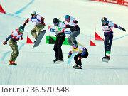 Coole Typen: Die Herren beim Snowboard-Cross am Seebuck beim FIS ... Стоковое фото, фотограф Zoonar.com/Joachim Hahne / age Fotostock / Фотобанк Лори