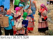 Flower Hmong Women at Bac Ha Market near Sapa Vietnam, Vietnam (2008 год). Редакционное фото, фотограф Chew Chun Hian / age Fotostock / Фотобанк Лори