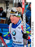 Marie Dorin Habert (Frankreich) konnte nach dem Rennen und Rang neun... Стоковое фото, фотограф Zoonar.com/Joachim Hahne / age Fotostock / Фотобанк Лори
