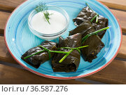 Grape rolls Sarni cooked in leaves and served with sour cream at plate. Стоковое фото, фотограф Яков Филимонов / Фотобанк Лори
