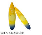 Two surfboard yellow isolated in white background. Стоковое фото, фотограф Zoonar.com/Sprunger Marie / easy Fotostock / Фотобанк Лори