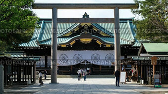 Video of Main hall (Haiden) through the Chumon torii at Yasukuni Shinto Shrine commemorates those who died in service of Japan. Chiyoda, Tokyo. Japan