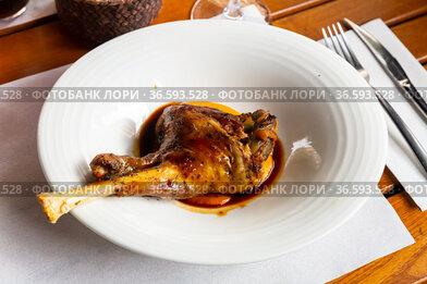 Tasty roasted lamb leg
