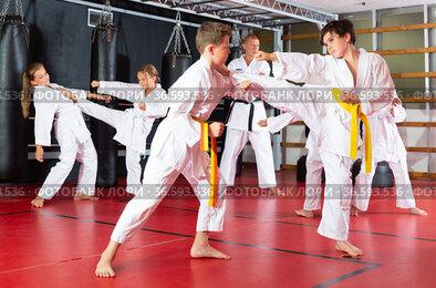 Kids working in pair, mastering kicks in karate class
