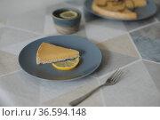 yummy lemon tart with tea set and lemons. Стоковое фото, фотограф Galina kondratenko / Фотобанк Лори