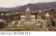 Samtavro monastery of St. Nino in Mtskheta. View from above. Georgia. Стоковое видео, видеограф Яков Филимонов / Фотобанк Лори