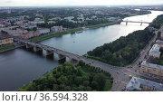 Bird eye view of Volga and waterfront of Tver. Savior Transfiguration Cathedral seen from above. Стоковое видео, видеограф Яков Филимонов / Фотобанк Лори