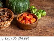 Harvest of fresh tomatoes, pumpkin and basket with hazelnuts stacked on the floor. Стоковое фото, фотограф Евгений Харитонов / Фотобанк Лори
