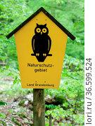 Schild mit dem Hinweis auf ein Naturschutzgebiet (Eule) am Rande ... Стоковое фото, фотограф Zoonar.com/redaktionell / age Fotostock / Фотобанк Лори