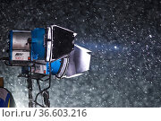 Scheinwerfer im Schneefall, FIS Ski Weltcup Slalom der Herren, Schladming... Стоковое фото, фотограф Zoonar.com/Günter Lenz / age Fotostock / Фотобанк Лори