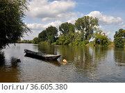 Boot, kahn, nachen, Main , Seligenstadt, fluss, gewässer, landschaft... Стоковое фото, фотограф Zoonar.com/Volker Rauch / easy Fotostock / Фотобанк Лори