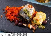 Scomber fish roll with bacon. Стоковое фото, фотограф Яков Филимонов / Фотобанк Лори
