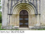 Romanesque church of Santa María de Siones, Valle de Mena. Merindades... Стоковое фото, фотограф Tolo Balaguer / age Fotostock / Фотобанк Лори