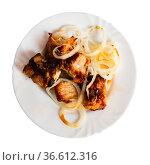 Spicy pork shashlik with fresh onion on plate. Стоковое фото, фотограф Яков Филимонов / Фотобанк Лори