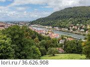 Гейдельберг, Германия. Живописный вид реки и исторического центра (2017 год). Стоковое фото, фотограф Rokhin Valery / Фотобанк Лори