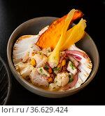 Seafood ceviche, typical dish from Peru. Стоковое фото, фотограф Яков Филимонов / Фотобанк Лори